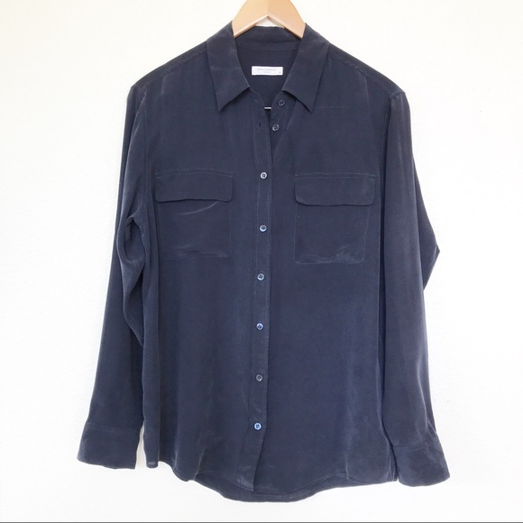 Equipment Tops - Equipment Signature 100% Silk Button Down Shirt M